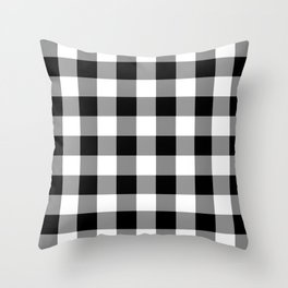 Black and White Country Buffalo check Throw Pillow
