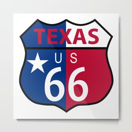 Route 66 Texas Sign And Flag Metal Print