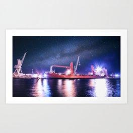Night Harbour Cargo Ship Art Print