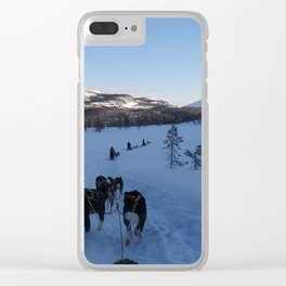 Dog sledging in Scandinavia Clear iPhone Case