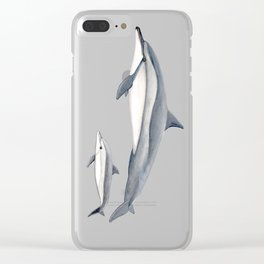 Long-beaked dolphin and baby Clear iPhone Case