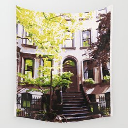 Perry Street is Fine By Me - West Village Watercolor Wall Tapestry