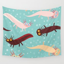 pattern Cute orange pink brown Axolotl Cartoon character on blue background in the aquarium Wall Tapestry