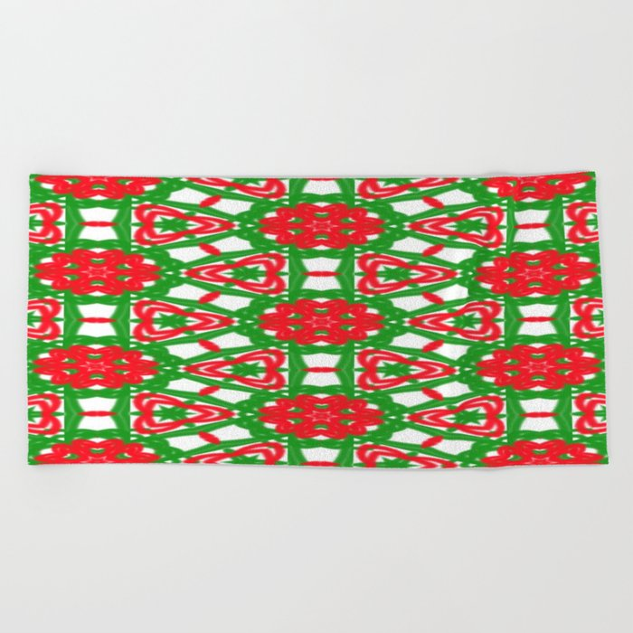 Red, Green and White Kaleidoscope 3372 Beach Towel