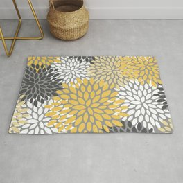 Modern Elegant Chic Floral Pattern, Soft Yellow, Gray, White Rug