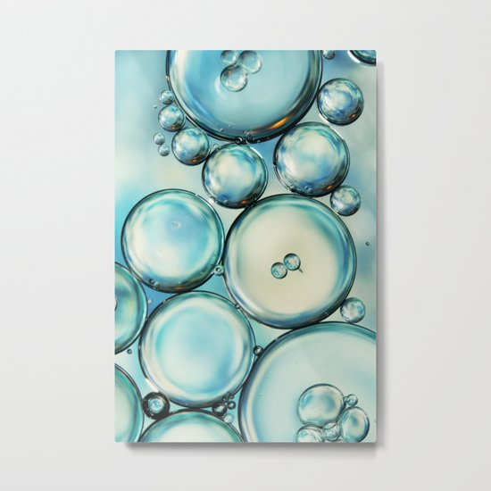 Sky Blue Bubble Abstract Metal Print