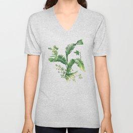 Green tropical leaves Unisex V-Neck