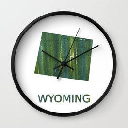 Wyoming map outline Deep moss green watercolor Wall Clock