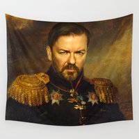 replaceface Wall Tapestries featuring Ricky Gervais - replaceface by replaceface