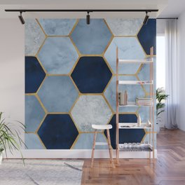 Deco Blue Marble II with Metallic Gold Accents Wall Mural