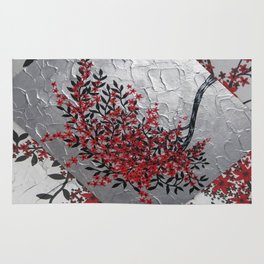 red black silver grey gray japanese painting Japan garland of flowers cherry blossom blossoms Rug