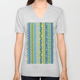 Geometrical lime green blue floral stripes patterns Unisex V-Neck