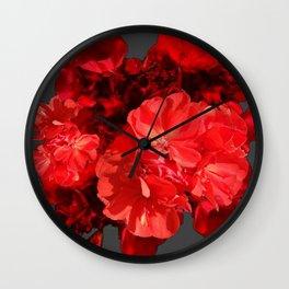 Decorative Red Geraniums On Grey Wall Clock