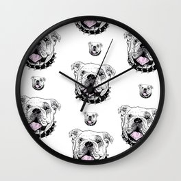 Bulldog with Pink Tongue Wall Clock