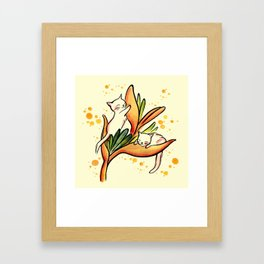 Yellow Heliconia and Cat Twins Framed Art Print