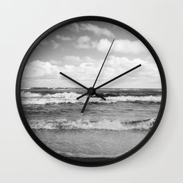 Sea Waves with Cloudy Sky Wall Clock