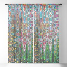 Vibrant Hippie Wiggly Pattern Sheer Curtain