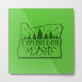 Exploregon (greens) Metal Print