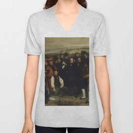 """Gustave Courbet """"A Burial at Ornans"""" Unisex V-Neck"""