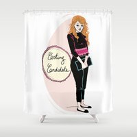mad men Shower Curtains featuring Young Joan from mad men  by Morgane Carlier