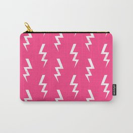 Bolts lightening bolt pattern pink and white minimal cute patterned gifts Carry-All Pouch