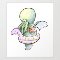 cthulhu Art Prints featuring Cthulhu by Natalie Cutrufello