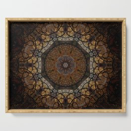 Rich Brown and Gold Textured Mandala Art Serving Tray