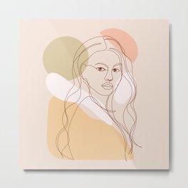 Line-art Portrait - Fierce Girl Power Metal Print