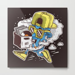 ToyDj Brings A Box With Vinyls And Smoke Metal Print