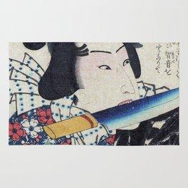 Kunichika Tattooed Warrior with Bamboo Pattern Background Rug