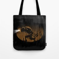 oil Tote Bags featuring oil monster by ErDavid