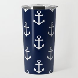 Navy Blue Nautical Anchor Pattern Travel Mug