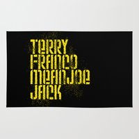 steelers Area & Throw Rugs featuring Terry Franco Mean Joe Jack / Black by Brian Walker
