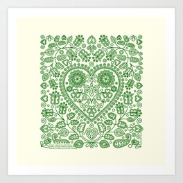 Folk Heart Art Print