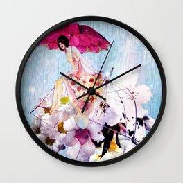 Rainy Bouquet Girl Wall Clock
