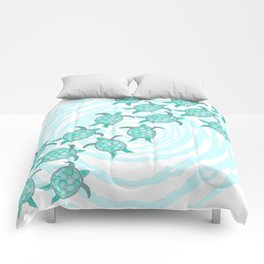Watercolor Teal Sea Turtles on Swirly Stripes Comforters