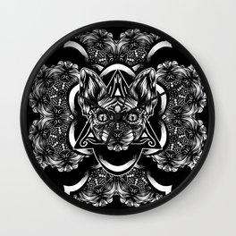 Sphynx floral bw Wall Clock