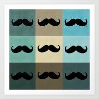 moustache Art Prints featuring Moustache by Zetanueta