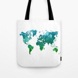Green watercolor world map Tote Bag