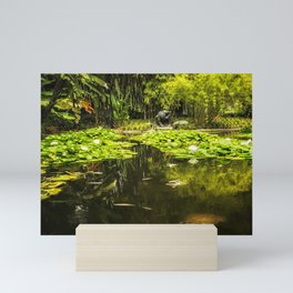 Turtle in a Lily Pond Mini Art Print