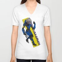 garrus V-neck T-shirts featuring Garrus Vakarian by KuroHyena