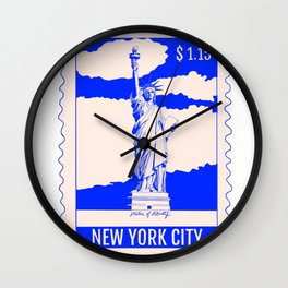 Statue of Liberty in New York City Stamp Wall Clock