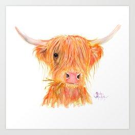 Scottish Highland Cow ' FERGUS ' by Shirley MacArthur Art Print