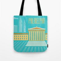 philadelphia Tote Bags featuring Philadelphia by Marina Design