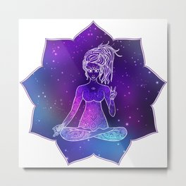 Card Yoga girl Metal Print