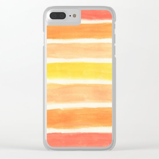 Orange Striped Abstract Clear iPhone Case