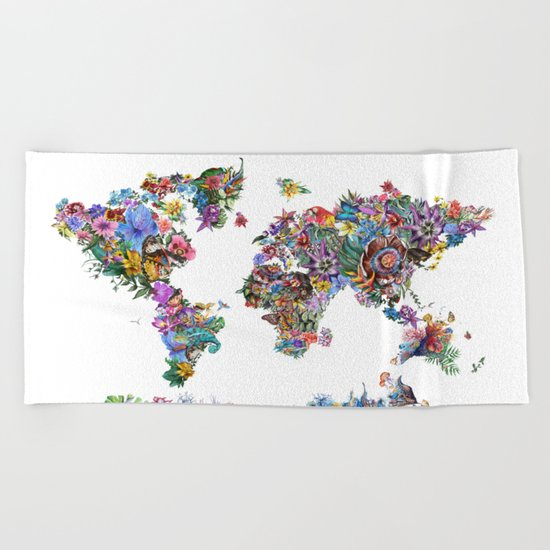 tropical floral world map Beach Towel