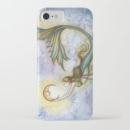 Deep Sea Moon Fantasy Mermaid Art Illustration by Molly Harrison iPhone Case