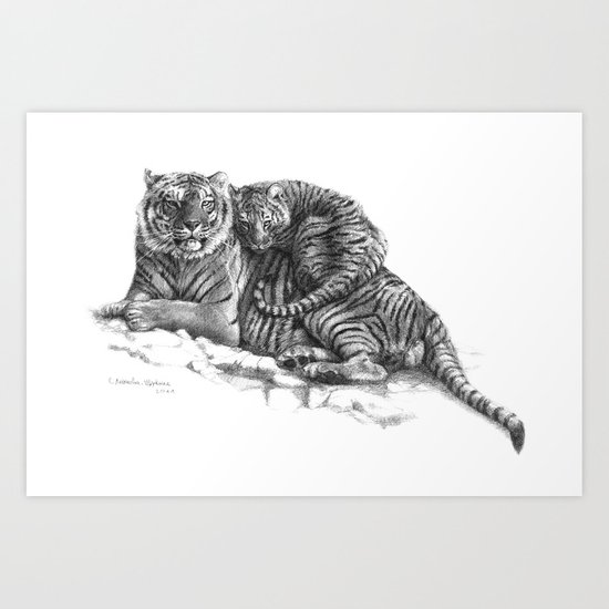 Tiger and Cub G2011-023 Art Print