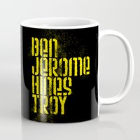 caleb troy Mugs featuring Ben Jerome Hines Troy / Black by Brian Walker